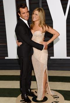 Die schöne Jennifer Aniston mit ihrem Liebsten Justin Theroux. (Bild: Keystone / Evan Agostini)