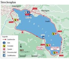 Die Laufstrecke umfasst über 14 Kilometer rund um den Ägerisee. (Bild: pd)