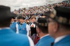 Ein Jodelchoerli unterhält das Publikum am Schwing- und Älplerfest Schwarzsee. (Bild: kEYSTONE / ALESSANDRO DELLA VALLE)