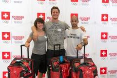 Sind bereit für Rio: Die Judokas Evelyne Tschopp, Ciril Grossklaus und Ludovic Chammartin (von links). (Bild: Keystone / Georgios Kefalas)