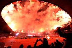 Mit einem fulminanten Feuerwerk wurde die Leichtathletik-Europameisterschaft im Zürcher Letzigrund eröffnet. (Bild: Keystone)