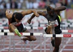 Raya Wilson (links) gewinnt über 110 m Hürden, David Oliver wird Dritter. (Bild: Keystone)