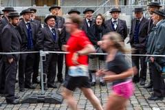 Der Jodlerklub Heimelig Horw am Swiss City Marathon 2017. (Bild: Philipp Schmidli)