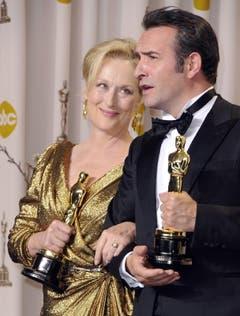 Sieger unter sich: Streep und Dujardin. (Bild: Keystone/EPA)