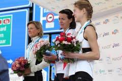 Die drei schnellsten Frauen auf der Luzerner Halbmarathonstrecke. (Bild: Nadia Schärli / Neue LZ)