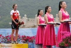 Karin Thürig, Bronze im Zeitfahren, 2008 in Peking. (Bild: Keystone / Peter Klaunzer)
