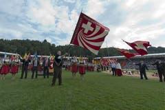 Die Fahne des Eidgenössishen Schwingerverbandes. (Bild: Keystone)