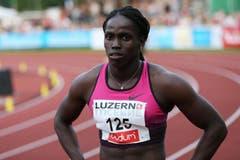 Carrie Russell gewinnt den 100m A-Lauf. (Bild: Philipp Schmidli / Neue LZ)