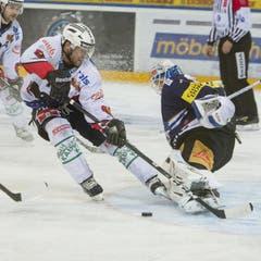 Geoff Kinrade vom SCB scheitert an Zugs Goalie Eero Kilpelaeinen. (Bild: Keystone)