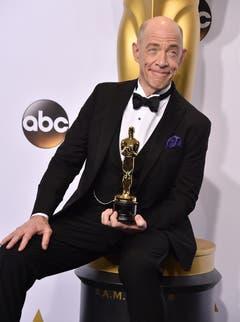 Hollywood-Grösse J.K. Simmons gewinnt den Oscar als bester Nebendarsteller («Whiplash»). (Bild: Keystone / Jordan Strauss)