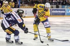 Der Spieler des EV Zug Tim Ramholt (links) kämpft um den Puck gegen Christian Daescher, vom HC Davos. (Bild: Keystone / Alexandra Wey)