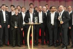 Logischerweise gehörte die grosse Bühne an der Gala im Kursaal Bern vor allem auch dem Nationalteam, das im Mai an der WM in Stockholm sensationell die Silbermedaille gewonnen hatte. (Bild: Keystone)