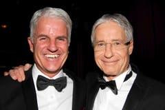 Verkehrshaus-Direktor Daniel Suter (links, künftiger CEO von Swiss Olympic) und SRG-Vize Daniel Eckmann. (Bild: André Häfliger/Neue LZ)