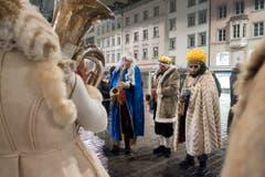Fasnachtsauftakt 2018 mit der Aguggete beim Vadian Denkmal in der Stadt St. Gallen (Bild: Urs Bucher)