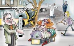 11. Februar. Auf der Langgasse kracht ein Postauto in einen Baum. Baubiologe Hansueli Stettler vermutet Elektrosmog als Unfallursache und misst nach. Da gäbe es noch andere alternative Untersuchungsmethoden. (Bild: Corinne Bromundt)