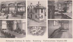 Innen- und Aussenansichten des Klubhauses auf einer Mehrbildkarte um 1910. (Bild: Stadtarchiv der Ortsbürgergemeinde St.Gallen)