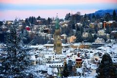Abendstimmung, Aussicht auf die Stadt vom Dreilindenhang St.Gallen (Bild: Liliane Germann)