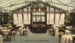 Das Innere des Wintergartens im Klubhaus auf einer Ansichtskarte um 1900. (Bild: Sammlung Peter Uhler)
