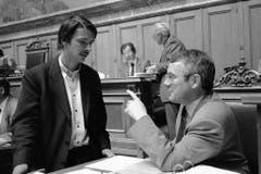 Paul Rechsteiner mit Kollege Arnold Koller von der CVP 1989. (Bild: Keystone)