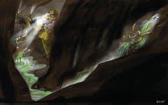 13. Mai. In die Tunnel-Baustelle an der Ruckhalde sickert Wasser. Schnell gerät der Nestweiher unter Verdacht und wird zur Abklärung grün eingefärbt. Auf Enten treffen die Mineure dann aber doch nicht. (Bild: Corinne Bromundt)