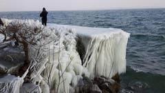 Bodenseeufer von Eis überzogen, Romanshorn. (Bild: Wendolin Stieger)