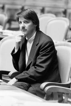 Paul Rechsteiner 1986, seiner Erstwahl, im Nationalratssaal in Bern. (Bild: Keystone)