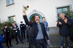 Paul Rechsteiner gewinnt 2011 gegen Toni Brunner (SVP) und Michael Hüppi (CVP) das Rennen um den freigewordenen Ständeratssitz von Eugen David (CVP). (Bild: Keystone)