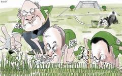 17. Juni. Der Kybunpark bekommt einen neuen Rasen. Und zwar einen Englischen, der liebevoll gehegt und auf den Millimeter genau getrimmt wird. Die Leistungen des FCSG vermag das Grün nicht zu verbessern… (Bild: Corinne Bromundt)