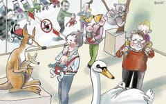 25. Februar. Das Kinderwagen-Verbot im Naturmuseum löst heftige Diskussionen aus. Die Lösung gibt die Tierwelt vor: So hat's jetzt nicht nur unter den Exponaten Beuteltiere, sondern auch unter den Besuchern. (Bild: Corinne Bromundt)