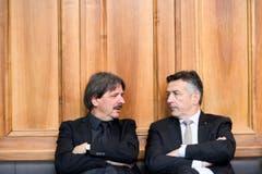 Paul Rechsteiner und Kollege Hans Wicki von FDP 2018. (Bild: Keystone)