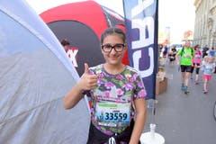 Luana Kos, Ebikon, Startnummer 33 559, zum 41. Stadtlauf: «Es ist super, wir gehen mit der Klasse an den Lauf, das ist cool.» (Bild: LZ)