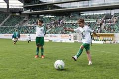 Bärenbande im Kybunpark: 250 Kinder dürfen mit Spielern des FCSG trainieren (Bild: Sabrina Stübi)