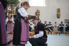 Feier des Entlebuchers Amt- und Wyberschiesset in der katholischen Kirche in Schüpfheim mit den Festsiegern Alice Stalder und Erwin Emmenegger (Bild: Dominik Wunderli)