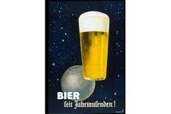 Das Plakat aus dem Jahr 1938 geht vom Bier quasi als Naturgesetz, als Bestandteil des Universums aus. (Bild: SBV)