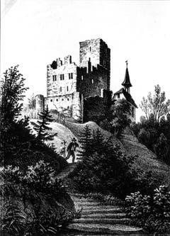 Das Schloss nach dem Abbruch 1846: Nur noch eine Ruine. (Bild: (Bürgerarchiv Weinfelden))