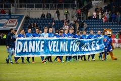 Der FC Luzern verabschiedet sich von den Fans nach Spiel. | Bild: Philipp Schmidli (Luzern, 13. Mai 2018)