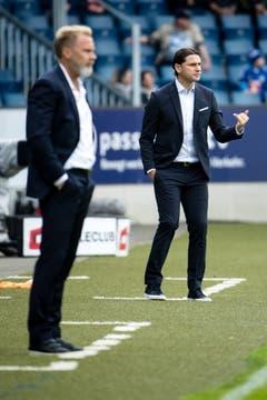 Die beiden Trainer im Fokus: Luzern-Trainer Gerardo Seoane (rechts) und GC-Trainer Thorsten Fink. | Bild: Philipp Schmidli (Luzern, 13. Mai 2018)