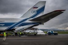 Das Flugzeug wurde Ende der 1970er-Jahre vom sowjetischen Konstruktionsbüro Antonov als grosses Transportflugzeug für die Streitkräfte konzipiert. | Bild: Boris Bürgisser (Emmen, 15. Mai 2018)