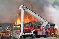Im Einsatz standen Angehörige dreier Feuerwehren. (Bild: Paul Gwerder)