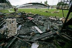 Ein Bild der Zerstörung nach dem letzten Spiel im Espenmoos. (Reto Martin)