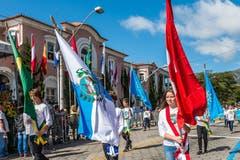 Weil auch das Fahnenschwingen eher in der Schweiz Tradition hat, tragen die jungen Festteilnehmer die Fahnen aufrecht und ohne Kapriolen.
