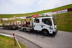 Mit dem Spezialtransporter geht es zurück zum Start. (Bild: Jakob Ineichen (Flüeli-Ranft, 19. Mai 2018))