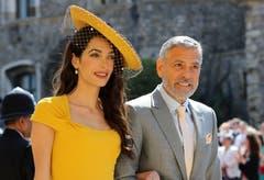 Schauspieler George Clooney und seine Frau Amal kamen als Gäste zur Trauungszeremonie. (Gareth Fuller/pool photo via AP)