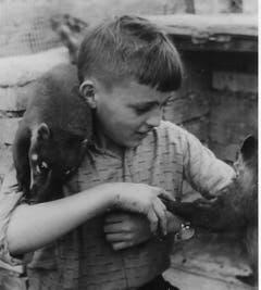 Walter Mauerhofer junior mit Nasenbär und Äffchen Jimmy. (Bild: PD, 1960)