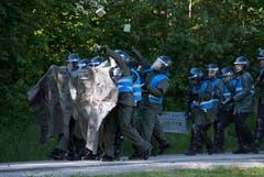 Polizisten schlüpfen an der Polizei-Übung in Schüpfheim in die Rolle von gewaltbereiten Aktivisten (Bild Corinne Glanzmann, 25. Mai 2018).