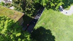 Eine Drohne der Zivilschutzorganisation Emme filmt die Polizeiübung (Bild: ZSO Emme, 25. Mai 2018).