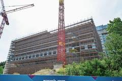 Der Schaden ist sofort behoben worden: Baustelle des neuen Thurgauer Kantonsspitals in Frauenfeld. (Bild: Donato Caspari)