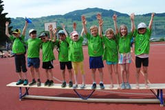 Regionaler Kinderspieltag in Buochs. Die Buochser Raketen siegen im Gruppenwettkampf. (Bild: Rosmarie Berlinger (Buochs, 26. Mai 2018))