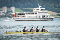Der Männer-Vierer vom Seeclub Zug mit Amer Fejzic, Dario Galasso, Lucas Mortier und Raffael Styger. (Bild: Christian H. Hildebrand, 26. Mai 2018)