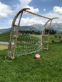 """Die Fussball-WM kann beginnen! Dieses Tor Marke Eigenbau befindet sich auf der fast 1'000 Meter über Meer liegenden Liegenschaft """"Rehärze"""" oberhalb von Schüpfheim! (Bild: Hubert Aregger)"""